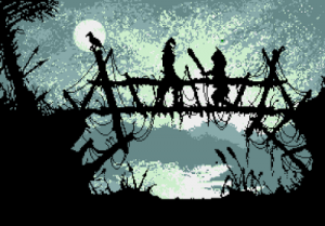 Screenshot from Blade Warrior showing an intricate foreground silhouette of a rustic bridge